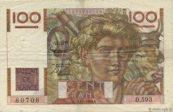 100 Francs JEUNE PAYSAN filigrane inversé FRANCE  1954 F.28bis.06 TTB