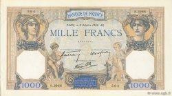 1000 Francs CÉRÈS ET MERCURE type modifié FRANCE  1938 F.38.28 SPL+