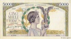 5000 Francs VICTOIRE Impression à plat FRANCE  1942 F.46.43 pr.SPL