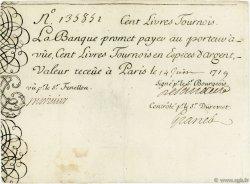 100 Livres Tournois Gravé FRANCE  1719 Laf.77 TTB+