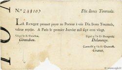 10 Livres Tournois Typographié FRANCE  1720 Laf.87 TB