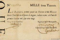1000 Livres Tournois Typographié FRANCE  1720 Laf.91x TTB