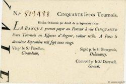 50 Livres Tournois Typographié FRANCE  1720 Laf.96 SUP+