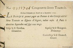 50 Livres Tournois Typographié FRANCE  1720 Laf.96 pr.SUP