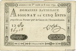 5 Livres FRANCE  1791 Ass.12a TTB+