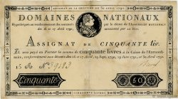 50 Livres FRANCE  1792 Ass.28a TB