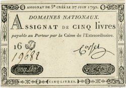 5 Livres FRANCE  1792 Ass.30a SPL