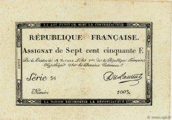 750 Francs FRANCE  1795 Ass.49a SUP