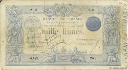 1000 Francs type 1862 indices noirs FRANCE  1873 F.A41.08 TB