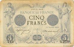 5 Francs NOIR FRANCE  1873 F.01.19 SUP