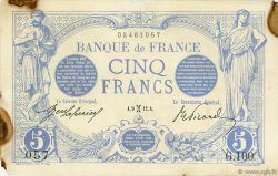 5 Francs BLEU FRANCE  1912 F.02.02 TTB