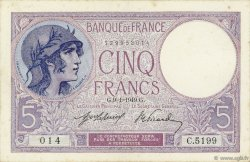 5 Francs VIOLET FRANCE  1919 F.03.03 SUP