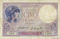 5 Francs VIOLET FRANCE  1920 F.03.04 TB
