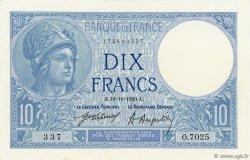 10 Francs MINERVE FRANCE  1920 F.06.04 SPL