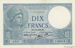10 Francs MINERVE modifié FRANCE  1939 F.07.01 SPL
