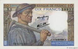 10 Francs MINEUR FRANCE  1941 F.08.01 SUP