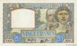 20 Francs SCIENCE ET TRAVAIL FRANCE  1940 F.12.04 TTB à SUP