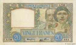 20 Francs SCIENCE ET TRAVAIL FRANCE  1940 F.12.05 pr.TTB