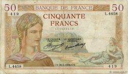 50 Francs CÉRÈS FRANCE  1936 F.17.26 TB