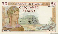 50 Francs CÉRÈS modifié FRANCE  1938 F.18.17 TTB+