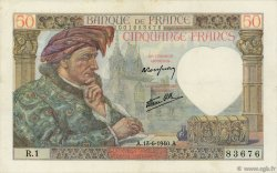 50 Francs JACQUES CŒUR FRANCE  1940 F.19.01 TTB+