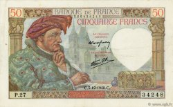 50 Francs JACQUES CŒUR FRANCE  1940 F.19.04 TTB