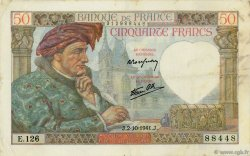 50 Francs JACQUES CŒUR FRANCE  1941 F.19.15 TTB