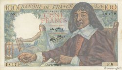 100 Francs DESCARTES FRANCE  1942 F.27.01 TTB à SUP