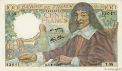 100 Francs DESCARTES FRANCE  1943 F.27.03 pr.SUP
