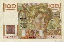 100 Francs JEUNE PAYSAN filigrane inversé FRANCE  1953 F.28bis.02 TTB à SUP