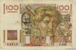 100 Francs JEUNE PAYSAN filigrane inversé FRANCE  1954 F.28bis.05 pr.TB