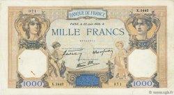 1000 Francs CÉRÈS ET MERCURE type modifié FRANCE  1938 F.38.20 TB+