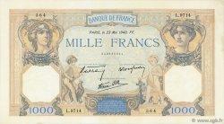 1000 Francs CÉRÈS ET MERCURE type modifié FRANCE  1940 F.38.47 SUP
