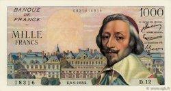 1000 Francs RICHELIEU FRANCE  1953 F.42.02 pr.SUP