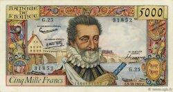 5000 Francs HENRI IV FRANCE  1957 F.49.03 pr.TTB