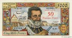 50 NF sur 5000 Francs HENRI IV FRANCE  1958 F.54.01 SUP+