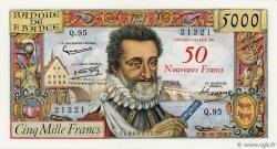 50 NF sur 5000 Francs HENRI IV FRANCE  1958 F.54.01 SUP à SPL