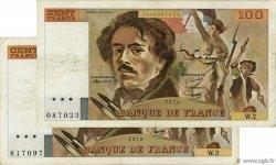 100 Francs DELACROIX FRANCE  1978 F.68.02 et F.69.01a TB