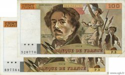 100 Francs DELACROIX FRANCE  1978 F.68.03 et F.69.01b TTB
