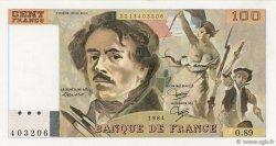 100 Francs DELACROIX modifié FRANCE  1984 F.69.08b SUP à SPL