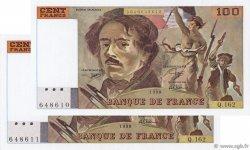 100 Francs DELACROIX imprimé en continu FRANCE  1990 F.69bis.02b SPL+