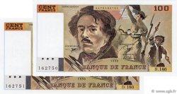 100 Francs DELACROIX imprimé en continu FRANCE  1990 F.69bis.02d AU