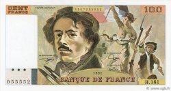 100 Francs DELACROIX imprimé en continu FRANCE  1991 F.69bis.03b1 SPL