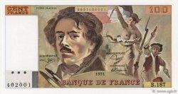 100 Francs DELACROIX imprimé en continu FRANCE  1991 F.69bis.03b2 SPL+