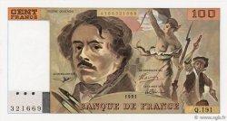 100 Francs DELACROIX imprimé en continu FRANCE  1991 F.69bis.04a NEUF