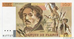 100 Francs DELACROIX  UNIFACE FRANCE  1995 F.69U.03 SUP