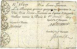 10 Livres Tournois gravé FRANCE  1719 Dor.01 TB+