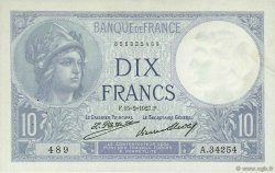 10 Francs MINERVE FRANCE  1927 F.06.12 SUP+