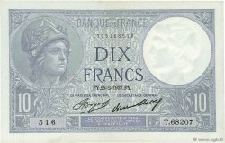 10 Francs MINERVE FRANCE  1937 F.06.18 SUP à SPL