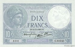 10 Francs MINERVE modifié FRANCE  1940 F.07.21 pr.NEUF